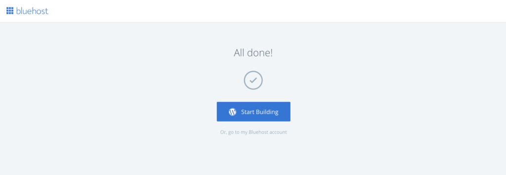 Bluehost pick theme done