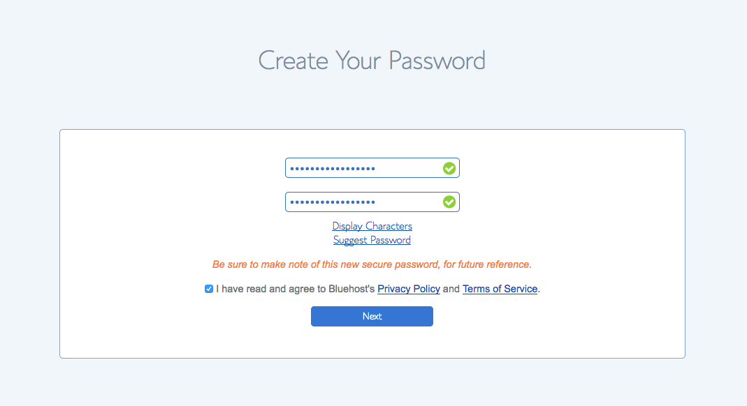 create your password