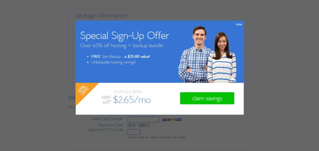 Bluehost special sign-up offer