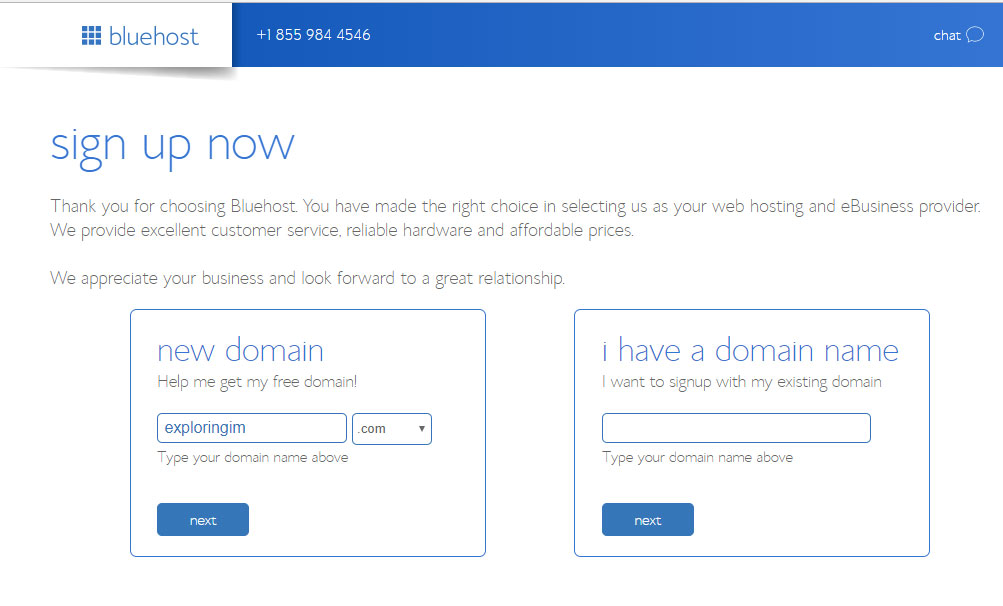 Bluehost signup form