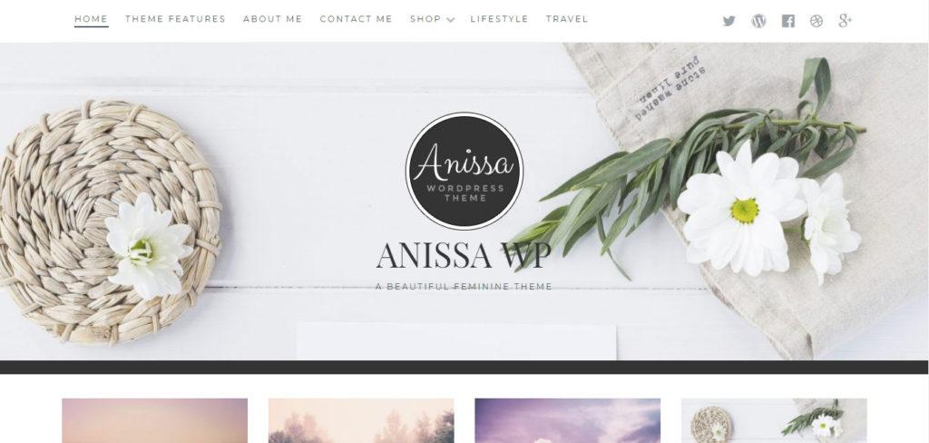Anissa Free feminine WordPress blog themes
