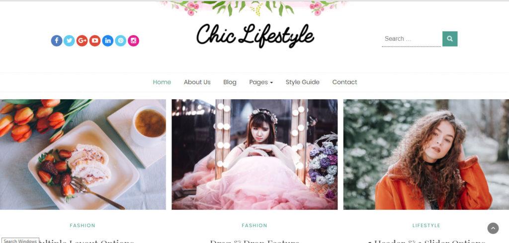 Chic Lifestyle Free feminine WordPress blog themes