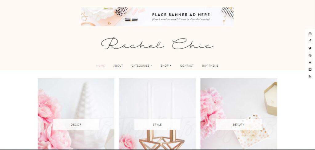 Rachel Free feminine WordPress blog themes